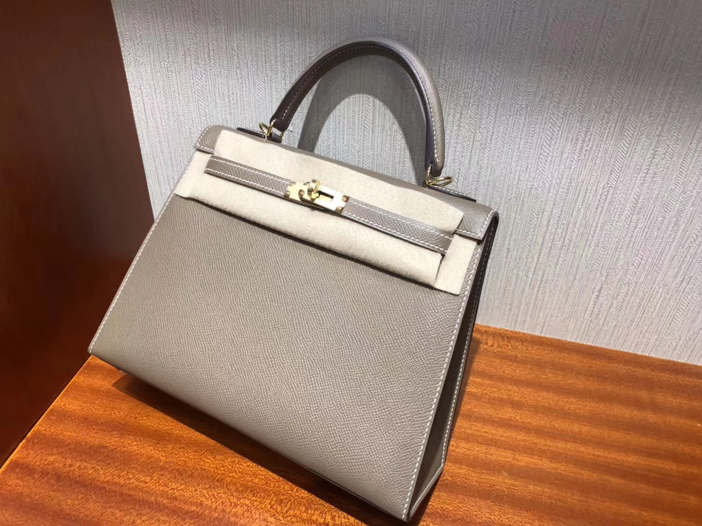 Australia Hermes Kelly bag 25cm CK18大象灰Etoupe Epsom牛皮 金扣