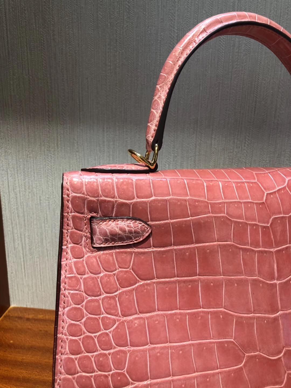 Singapore Hermes Kelly Bag 28cm L5 Crevette龍蝦粉亮面倒V 野生灣鱷