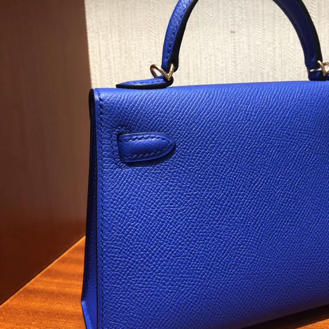 愛馬仕2019年什麽刻 Malaysia HERMES Mini Kelly2代 Epsom I7琉璃藍Blue zellige
