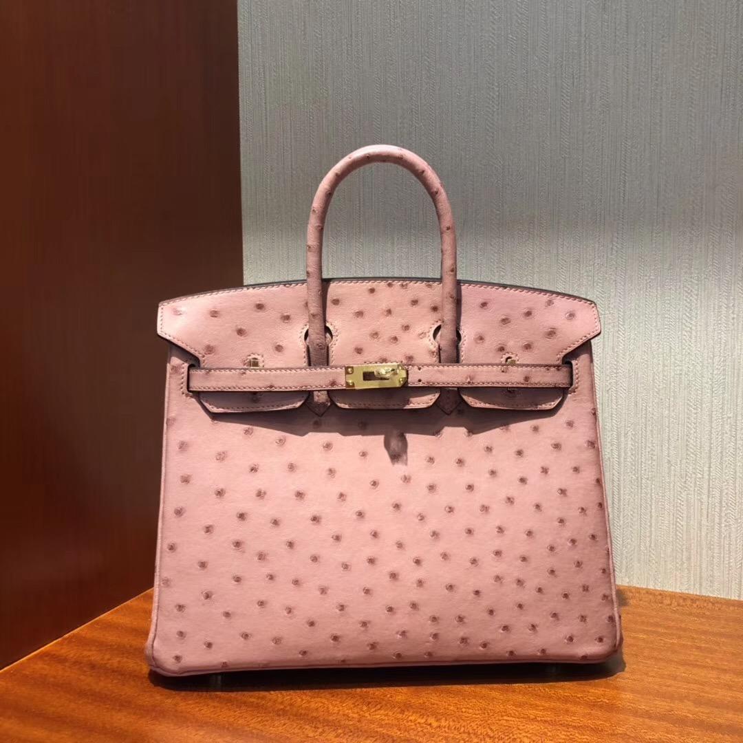 Malaysia Hermes Birkin Bags 25 CK94陶瓷粉 TerreCuite 南非KK鴕鳥皮