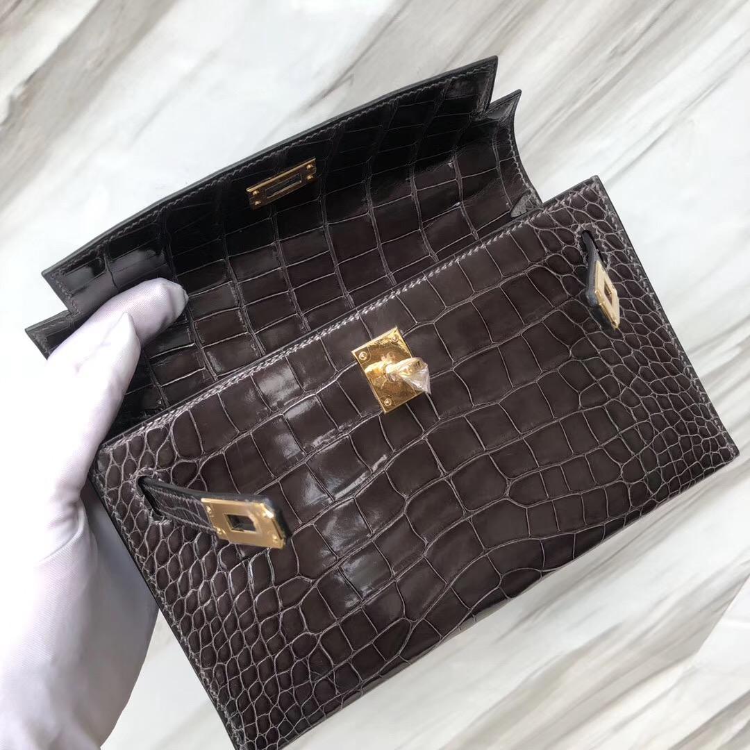 Hermès MiniKelly Pochette CK88石墨灰 Graphite美洲鱷Shiny alligator crocodile