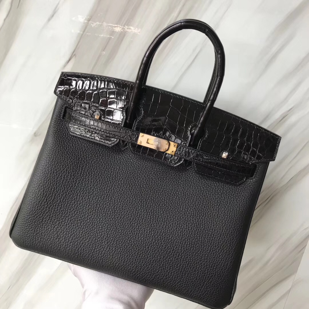 Hermes Touch Birkin 25 Togo/Shiny nilo crocodile CK89 black Rose Gold