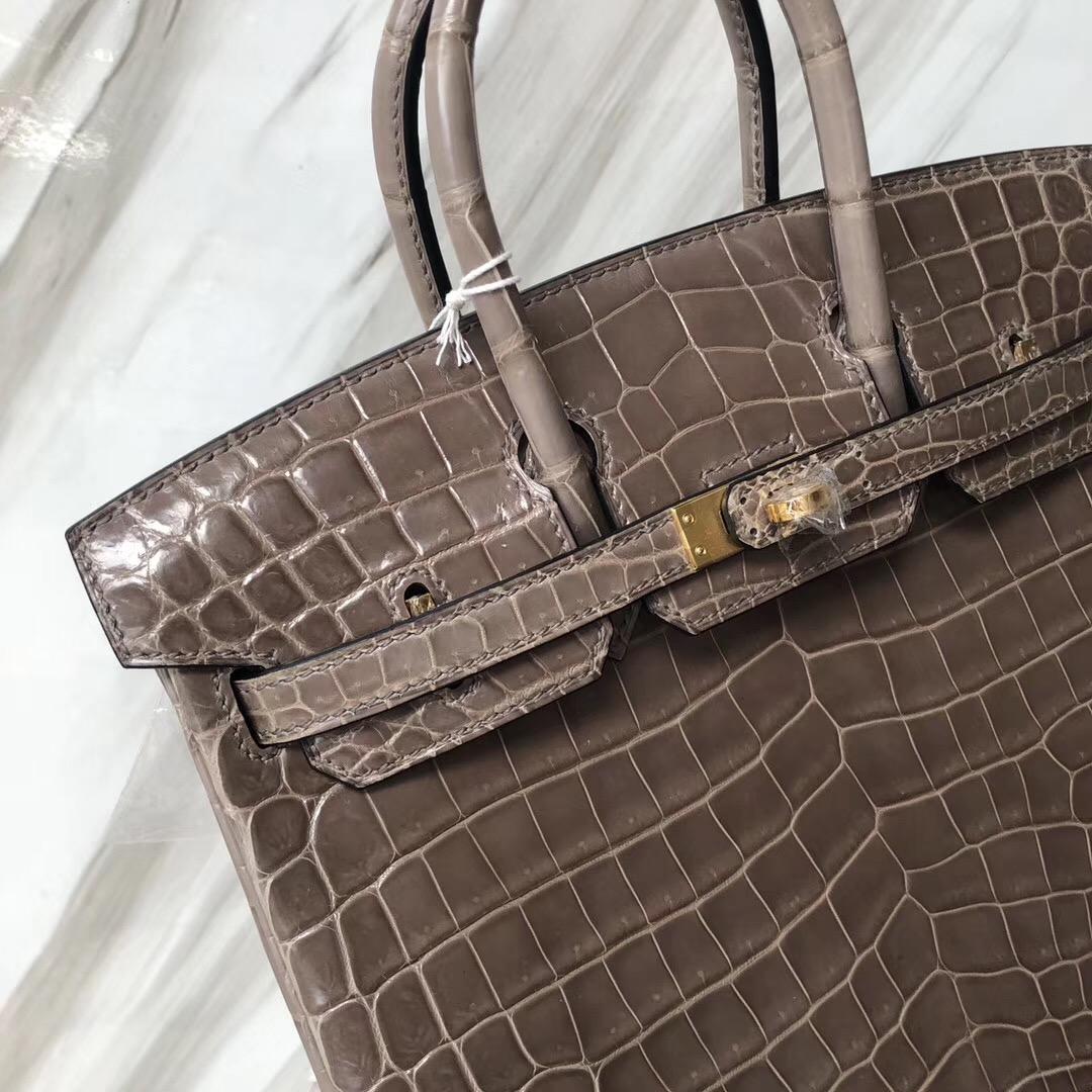 U.S.A Hermès Birkin 25 亮面兩點 尼羅鱷魚 CK81斑鳩灰 Gris Tourterelle