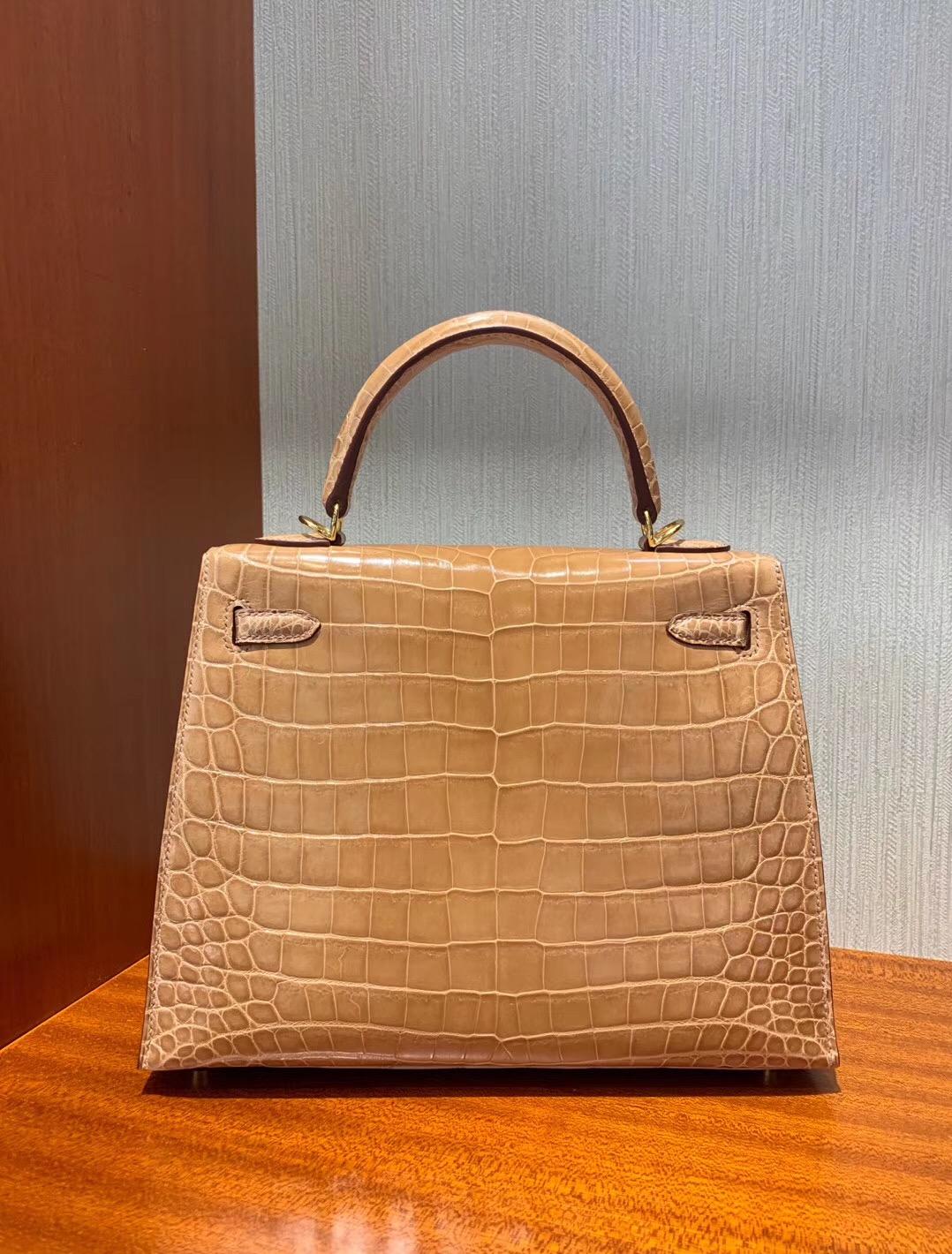 Hong Kong Hermes Kelly 25cm CK14杏色 beige 亮面兩點尼羅鱷魚