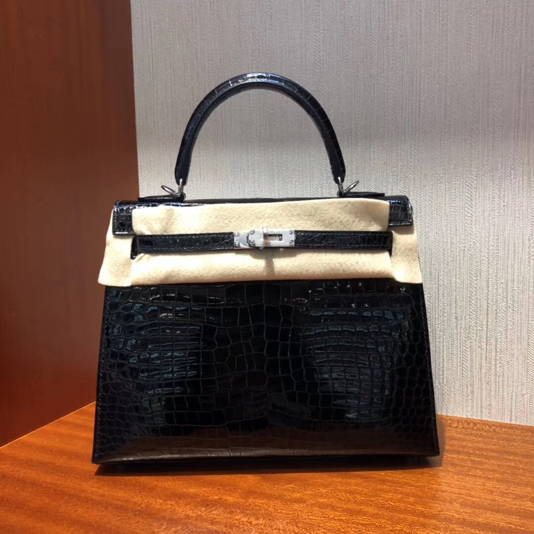 Singapore Hermès Kelly 25cm CK89 HCP Shiny porosus crocodile