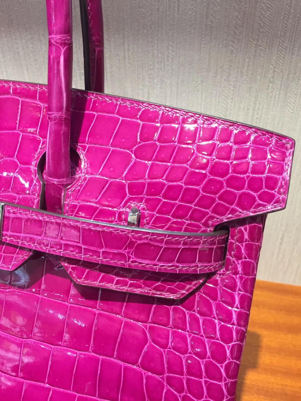 U.S.A Hermès Birkin Bag 30cm porosus J5天方夜譚粉紫 亮面倒V 澳洲灣鱷