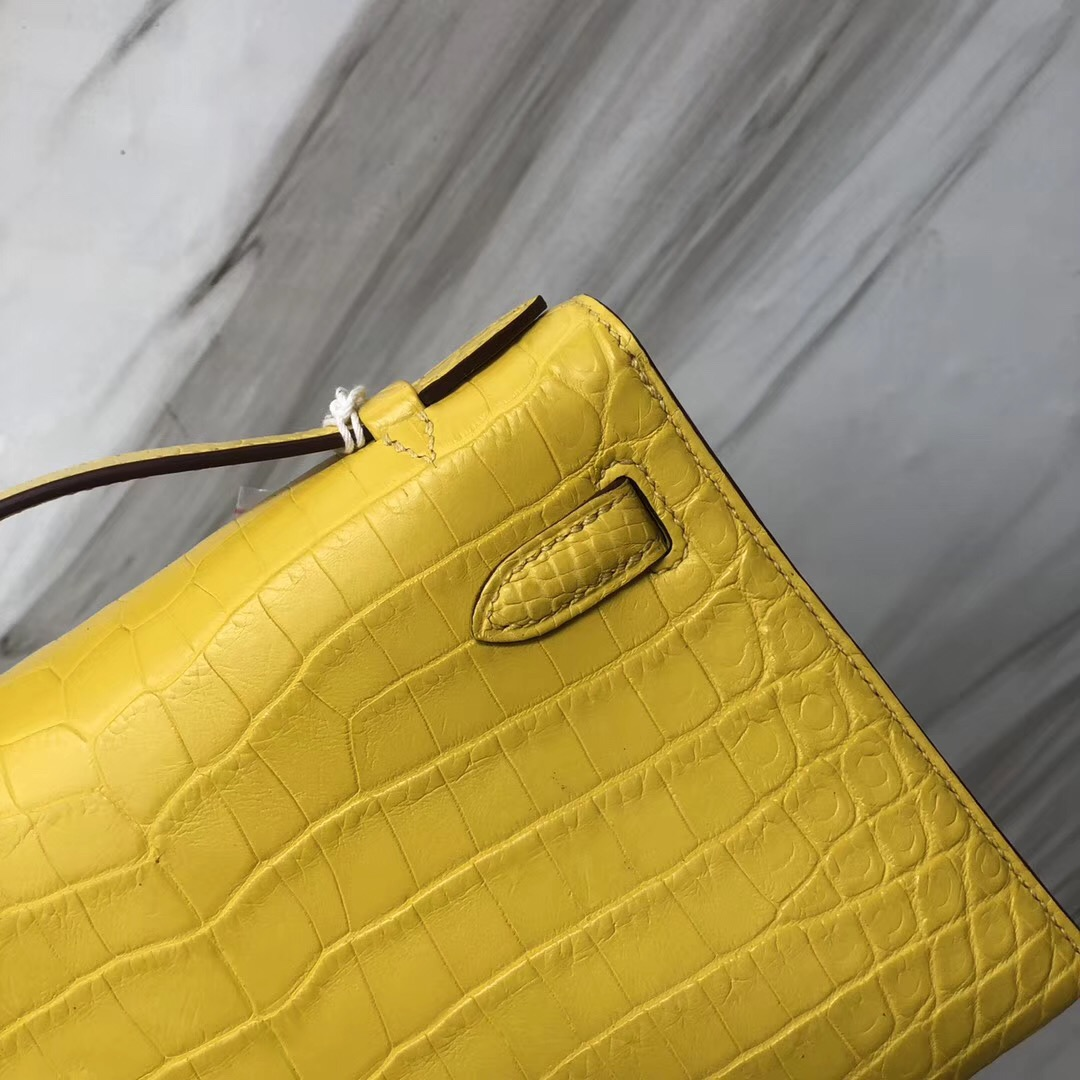 Hong Kong Hermès MiniKelly 22cm 霧面兩點 尼羅鱷魚 9R檸檬黃