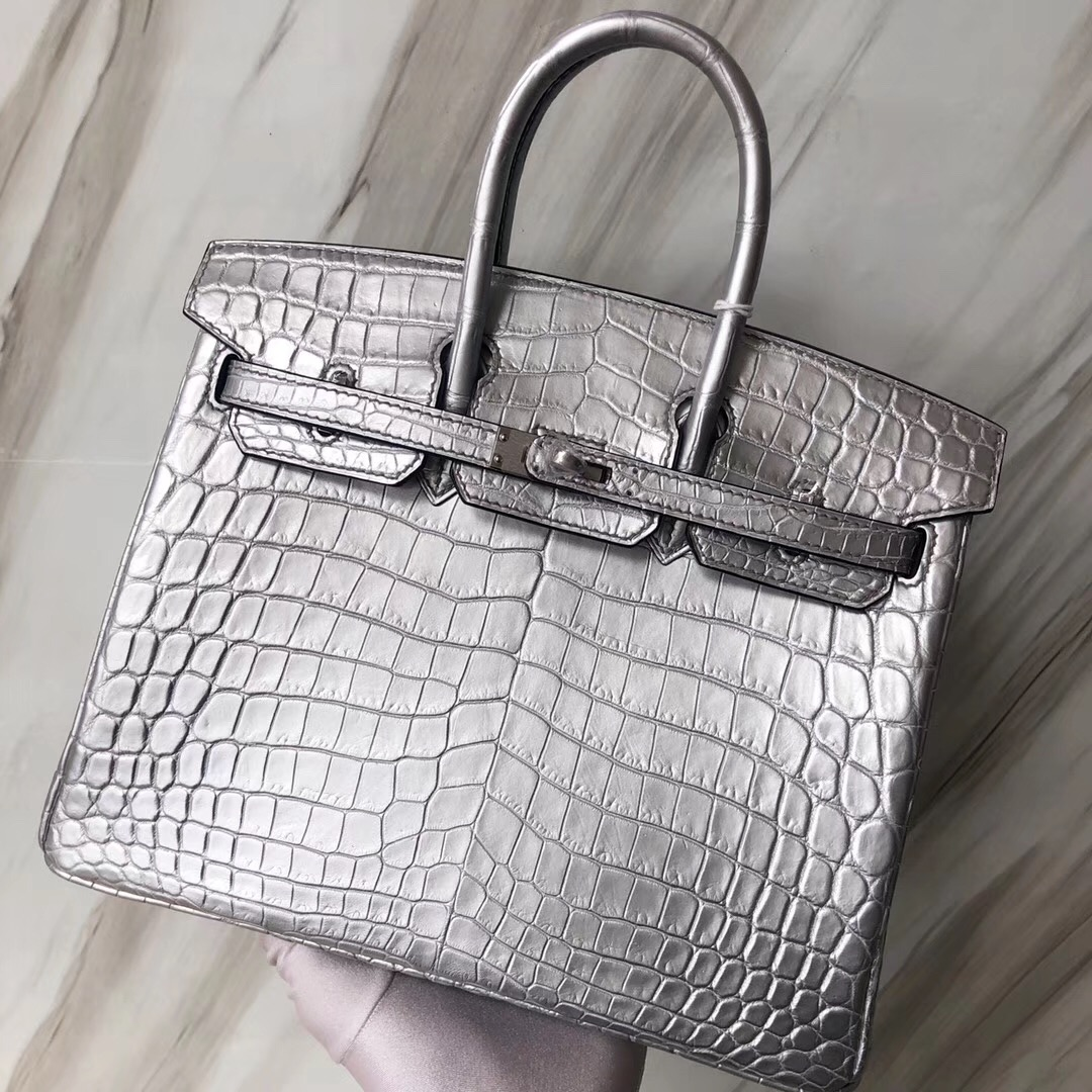 Singapore Hermes Birkin Bag 25cm Matte alligator crocodile 01銀色