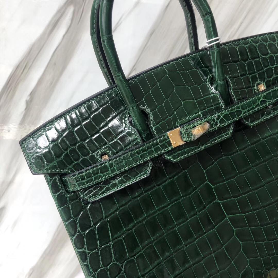 Hermes Birkin Bag 25cm 亮面兩點 尼羅鱷魚 CK67祖母綠 Vert Fonce 金扣