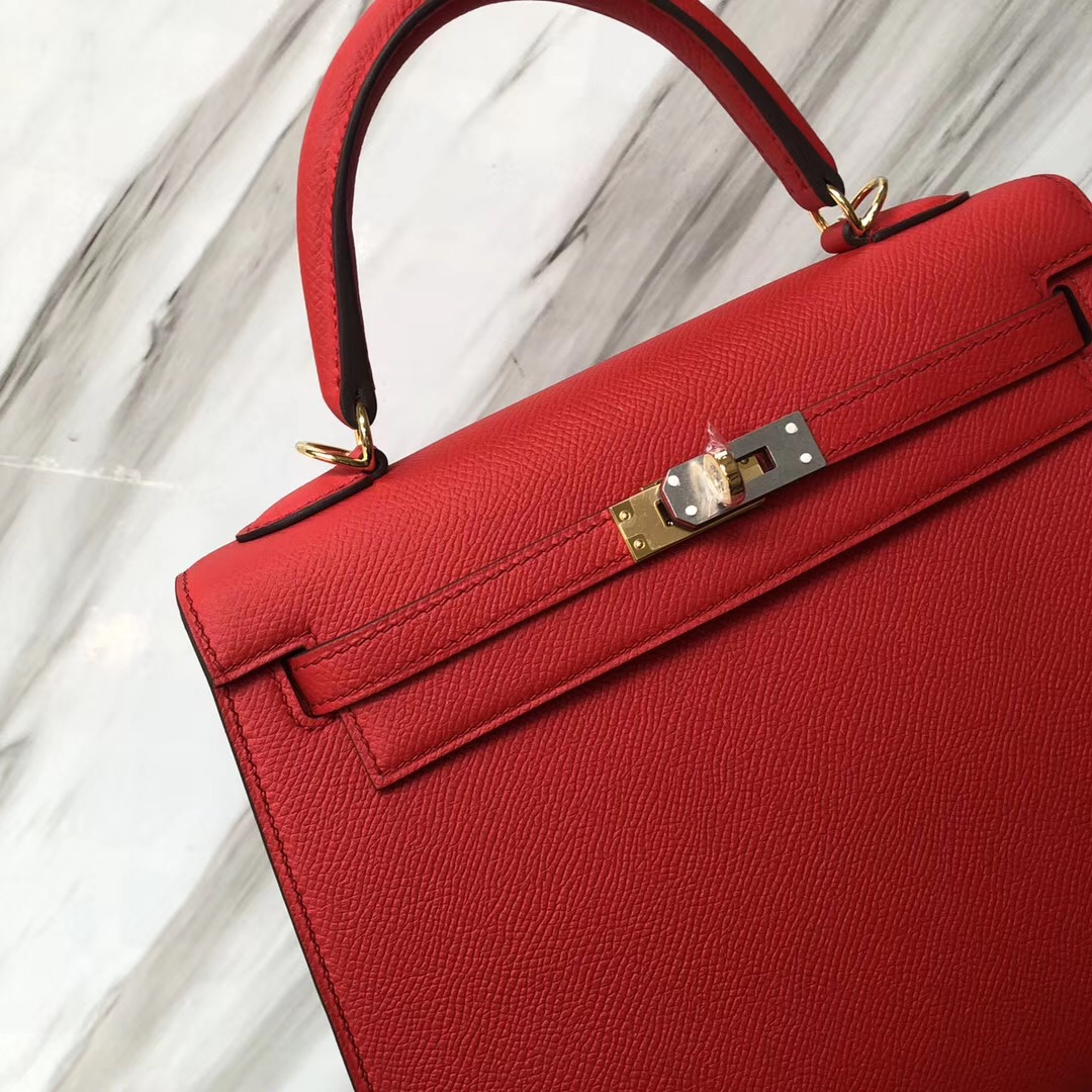 愛馬仕新加坡專賣店Hermes Kelly 25cm S3心紅色 Rose de coeur Epsom