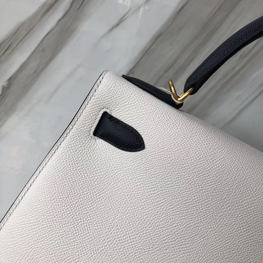 Hermes Kelly Bag 28cm 01純白/CK76深海藍 拉絲金扣 Epsom皮