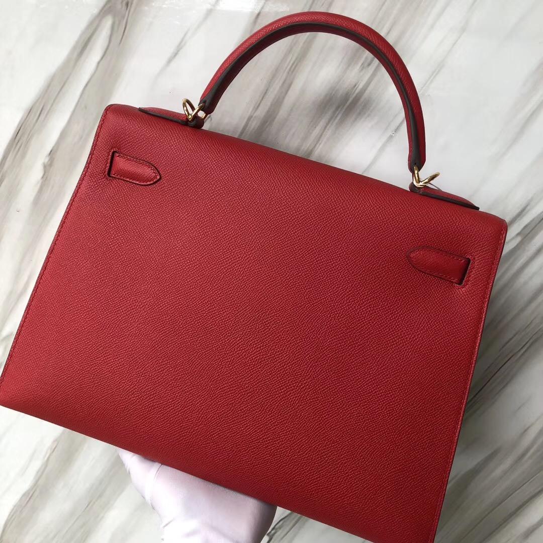 Singapore Hermes Kelly Bag 32cm Epsom Q5國旗紅 Rouge Casaque