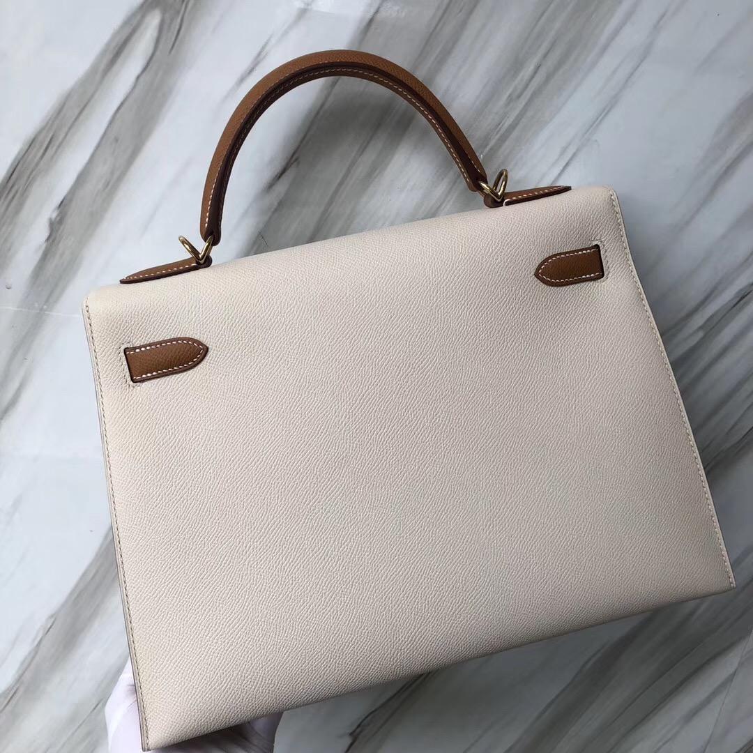 愛馬仕外縫凱莉包 Hermes Kelly Bag 32cm Epsom CK10奶昔白/CK37金棕色