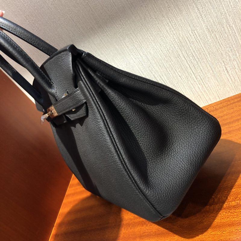 Hong Kong Hermes Birkin Bag 30cm Togo小牛皮 CK89黑色 玫瑰金