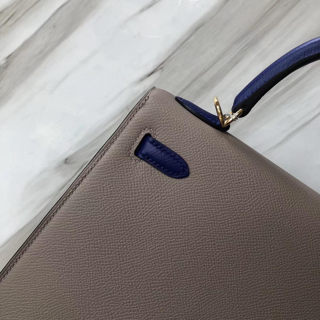 Hermes Kelly Bag 28cm M8 Gris Asphalte 瀝青灰/7T Blue Htdra 電光藍