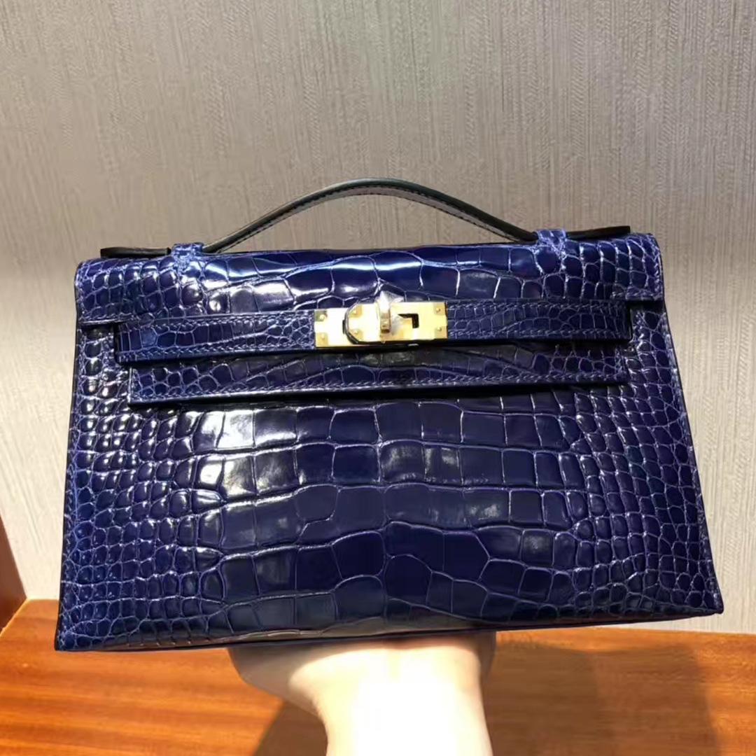 Hong Kong Hermes Minikelly Pochette M3墨水蓝Blue Encre 亮面方块 美洲鳄鱼