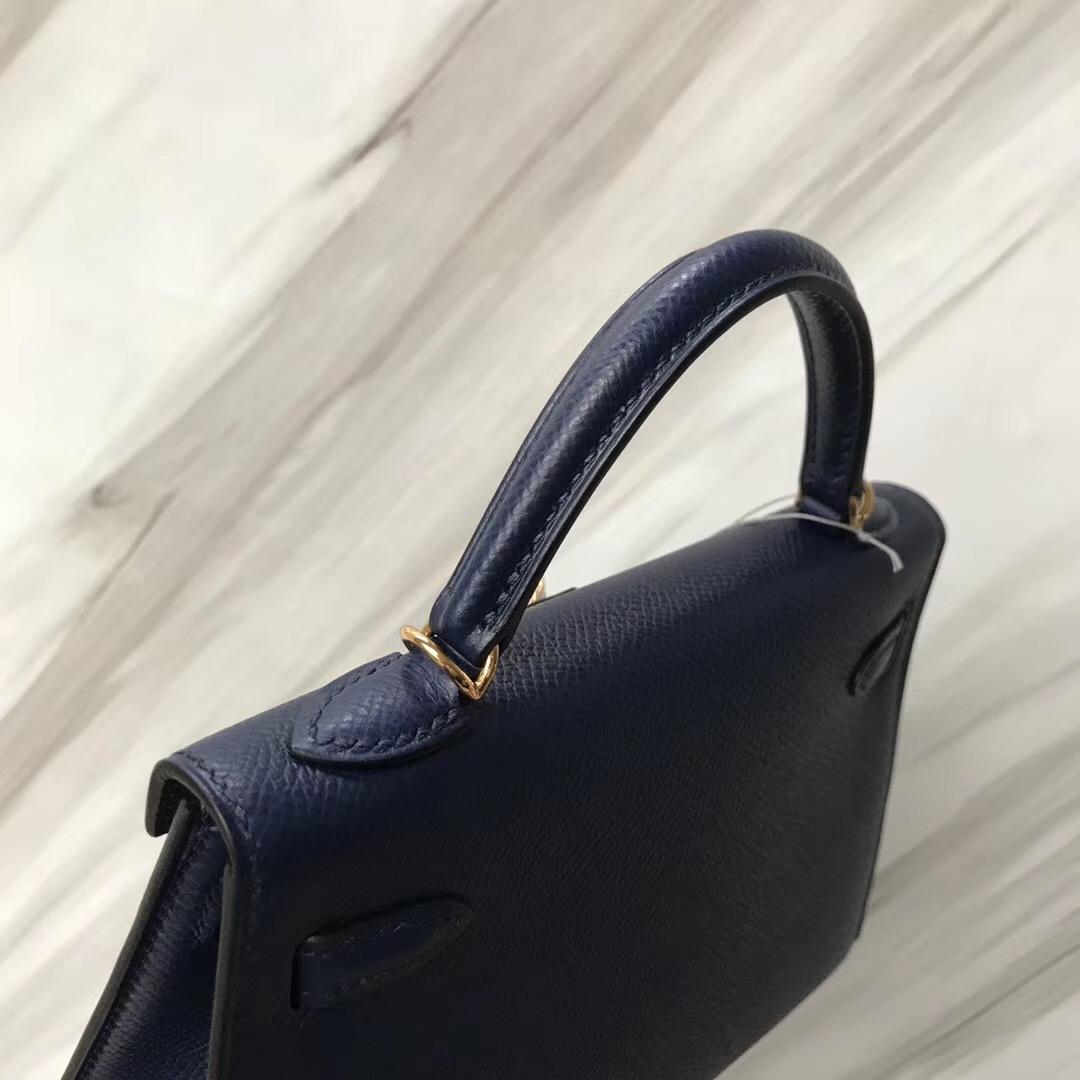 Malaysia Hermes MiniKelly 2代 CK73寶石藍 Blue sapphire Epsom牛皮