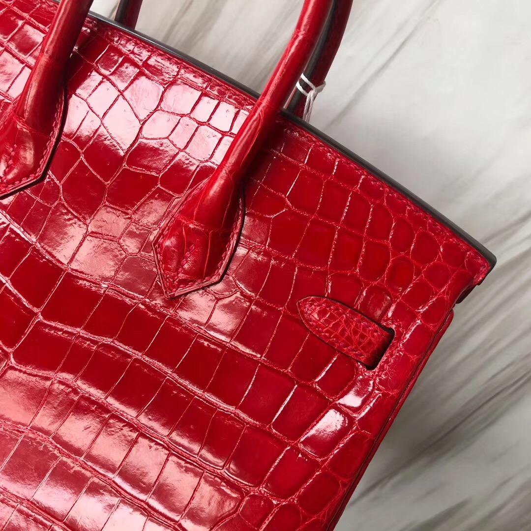 Hermes Birkin Bag 25cm CK95法拉利紅 Braise 亮面兩點 尼羅鱷魚