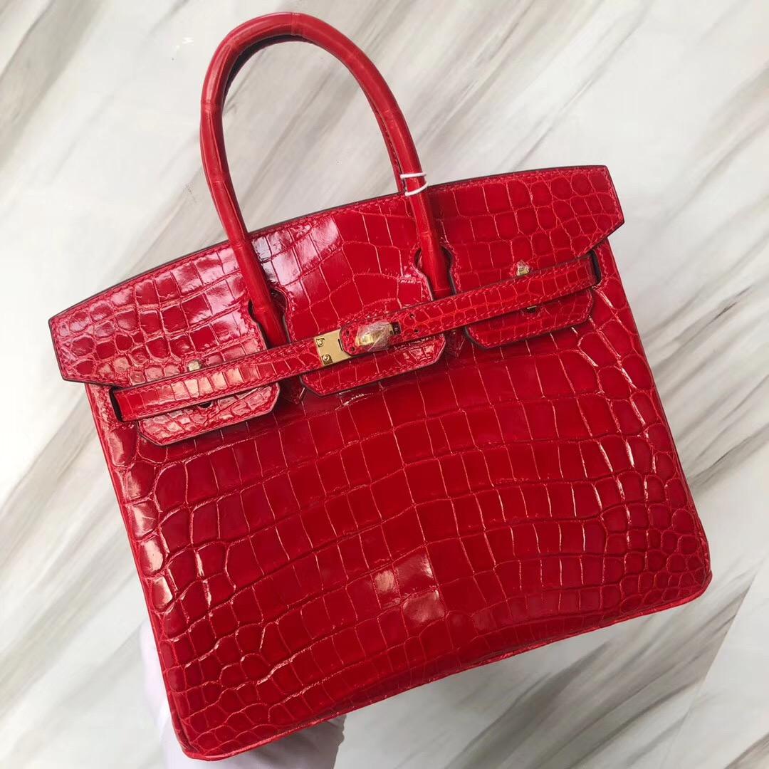Hermes Birkin Bag 25cm 亮面兩點 尼羅鱷魚 CK95法拉利紅 Braise