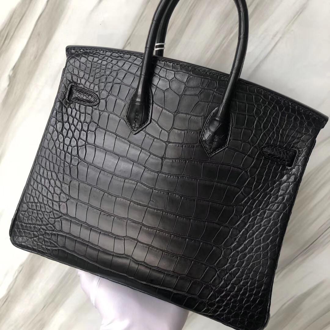 愛馬仕鉑金包 Hermes Birkin Bag 25cm CK89黑色 Noir 霧面方塊 美洲鱷魚