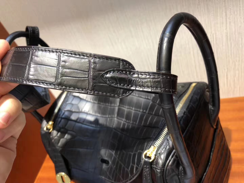 愛馬仕琳迪包定制Hermes lindy Bag 26 CK89黑色 Noir 霧面兩點鱷魚