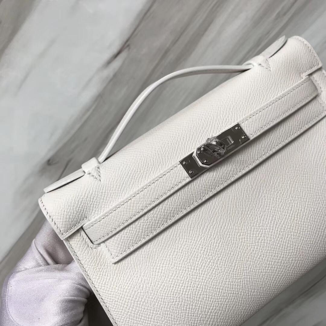 Hong Kong Hermes MiniKelly Pochette 22cm Epsom 01純白 white