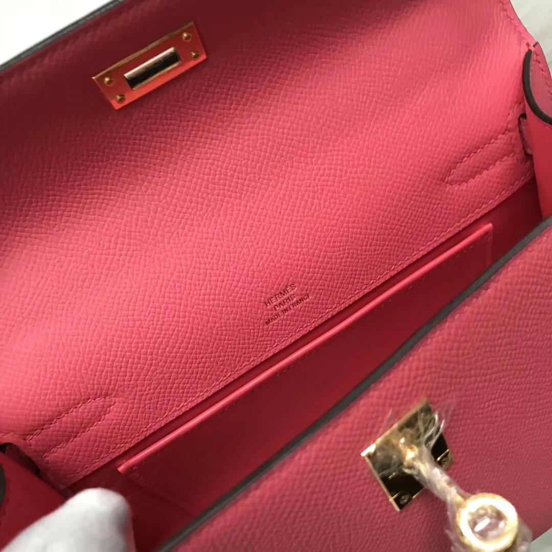 Malaysia Hermes MiniKelly Pochette 22cm 8W新唇膏粉 Rose azalee Epsom