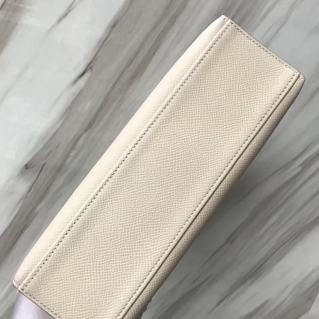 Malaysia Hermes MiniKelly Pochette 22cm CK10奶昔白 Craie Epsom 皮