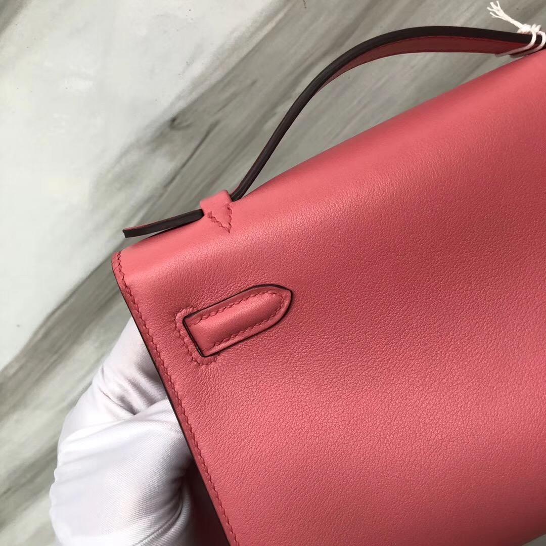 Malaysia Hermes MiniKelly Pochette Swift皮 8W新唇膏粉 Rose azalee