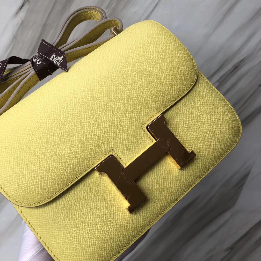 愛馬仕康斯坦空姐包 Hermes Constance 19cm C9鵝蛋黃Epsom 皮