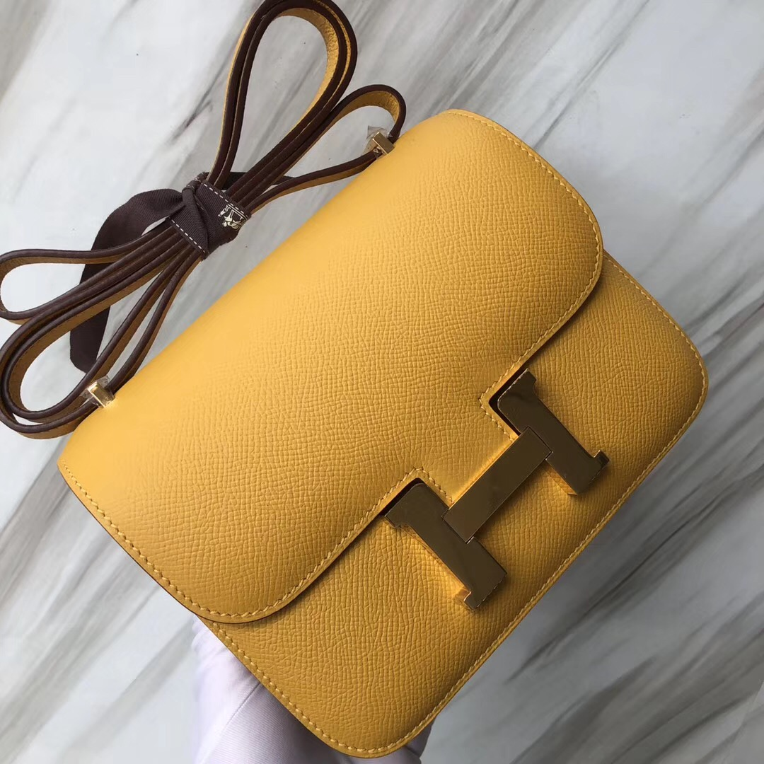 Hermes Constance 19cm 康康空姐包 9D琥珀黃 Jaune Amber Epsom皮