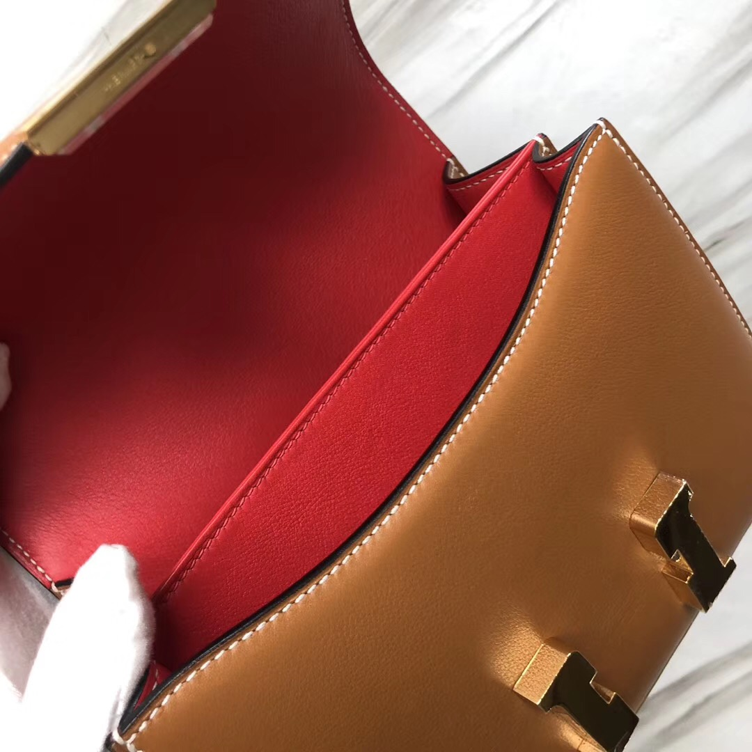 Hermes Constance 19cm Swift 1H太妃色 內拼 S5番茄紅Rouge Tomate
