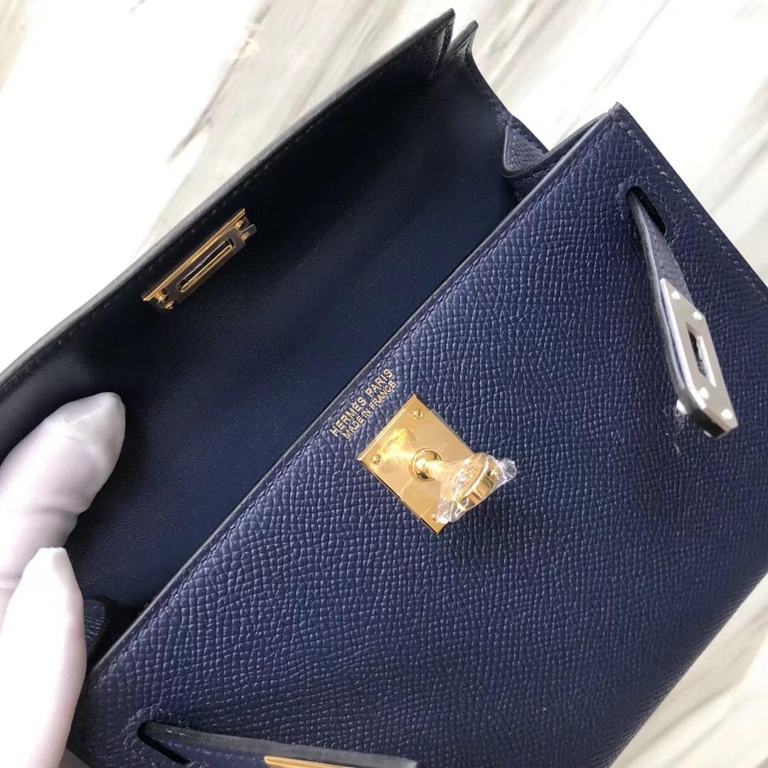 愛馬仕二代mini凱利尺寸 Hermes MiniKelly II CK73寶石藍 Blue sapphire Epsom