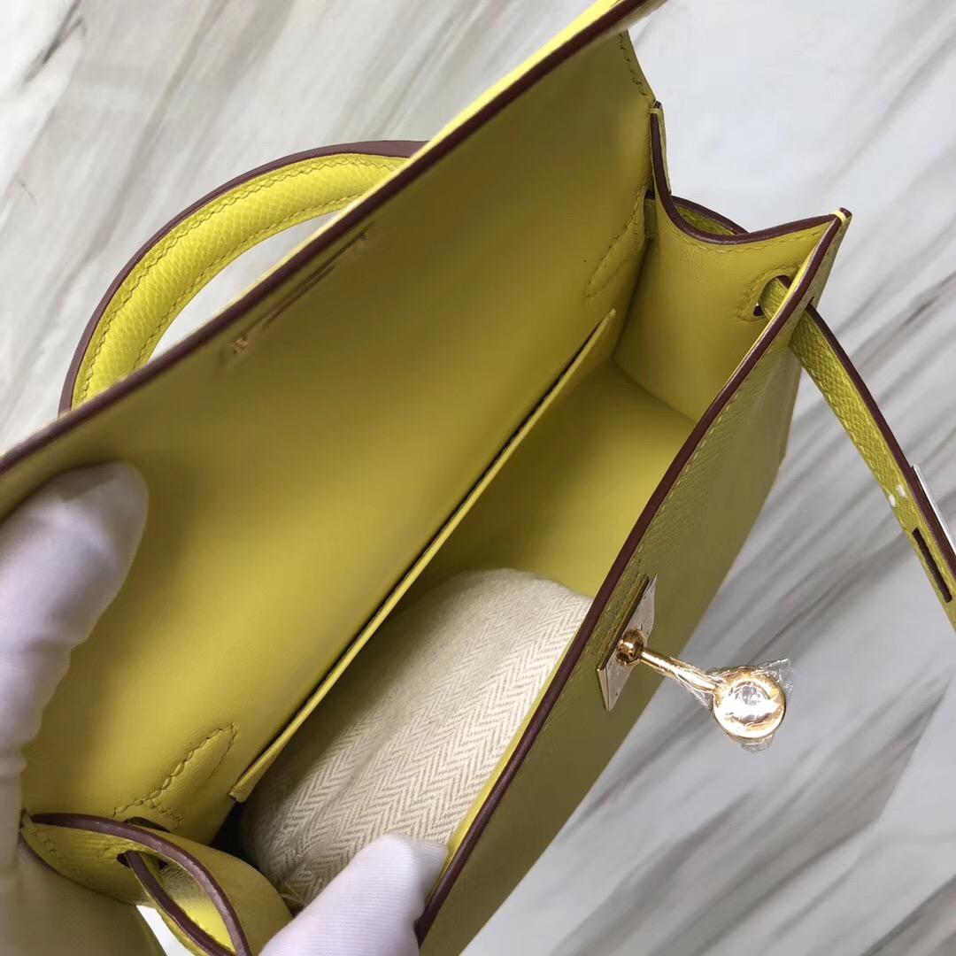 愛馬仕凱莉迷妳二代尺寸 Hermes MiniKelly二代 9R柠檬黄 Lime Epsom