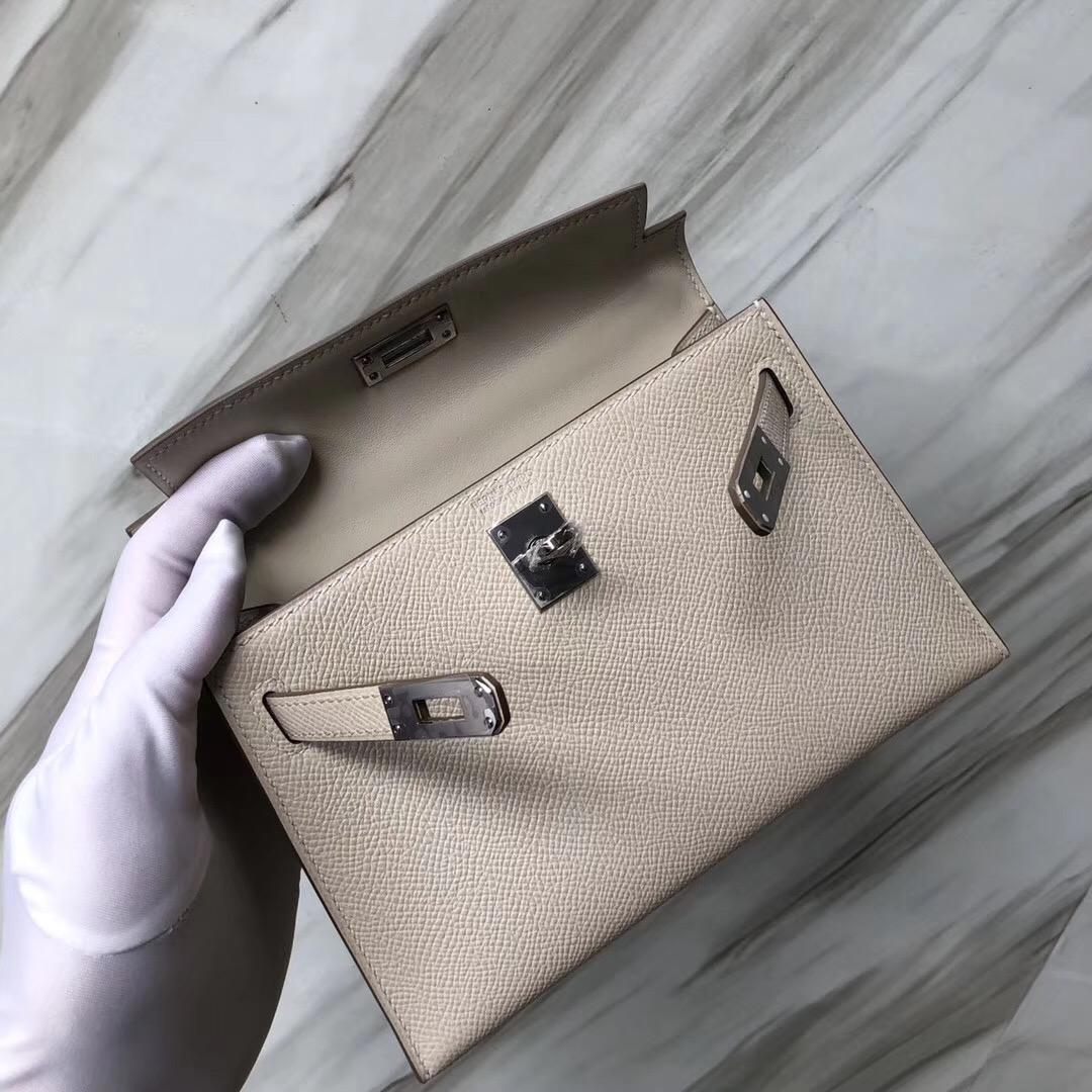 Singapore Hermes Mini Kelly 二代 Epsom CK10 Craie 奶昔白
