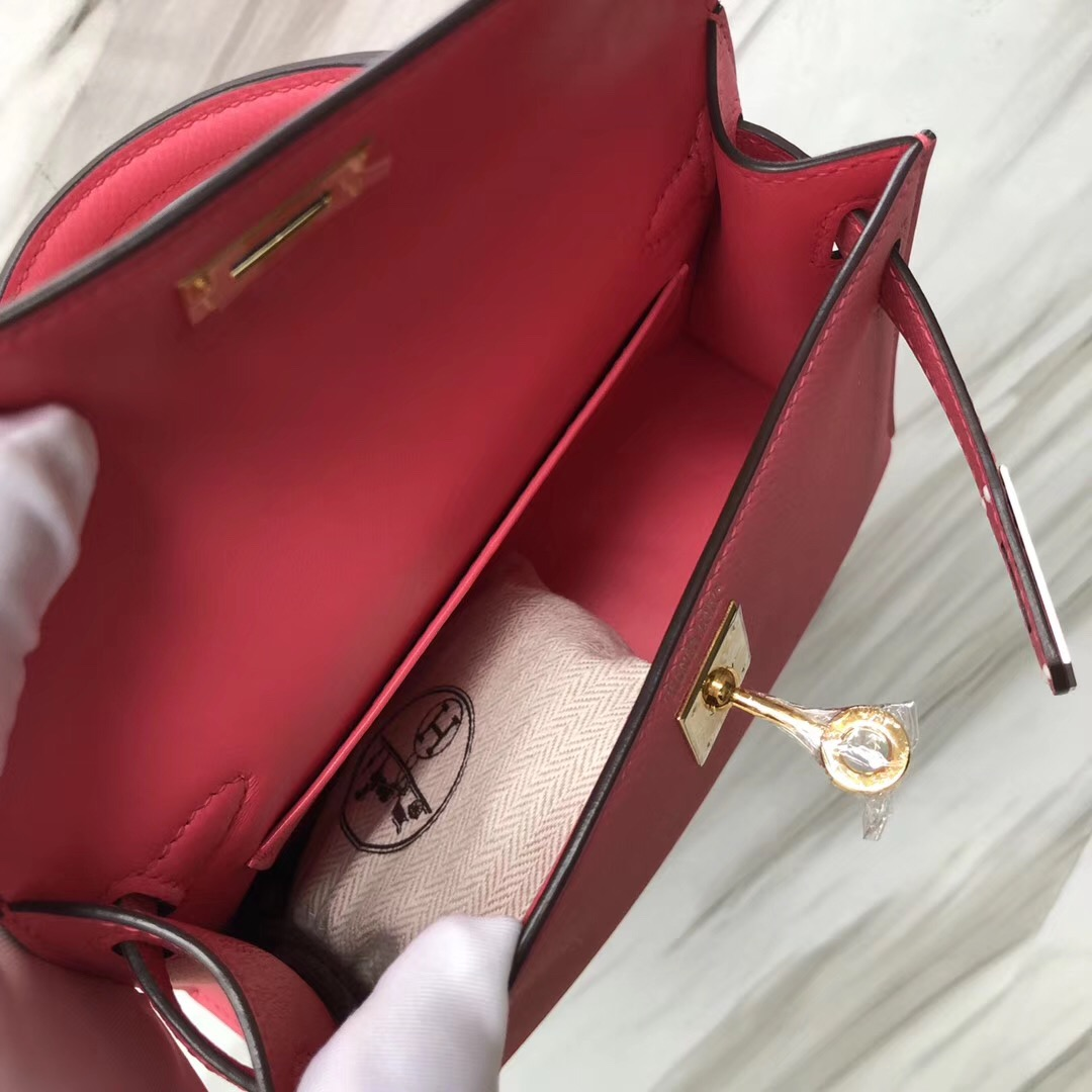 Singapore Hermes Mini Kelly二代 尺寸大小 8W Rose azalee 新唇膏粉