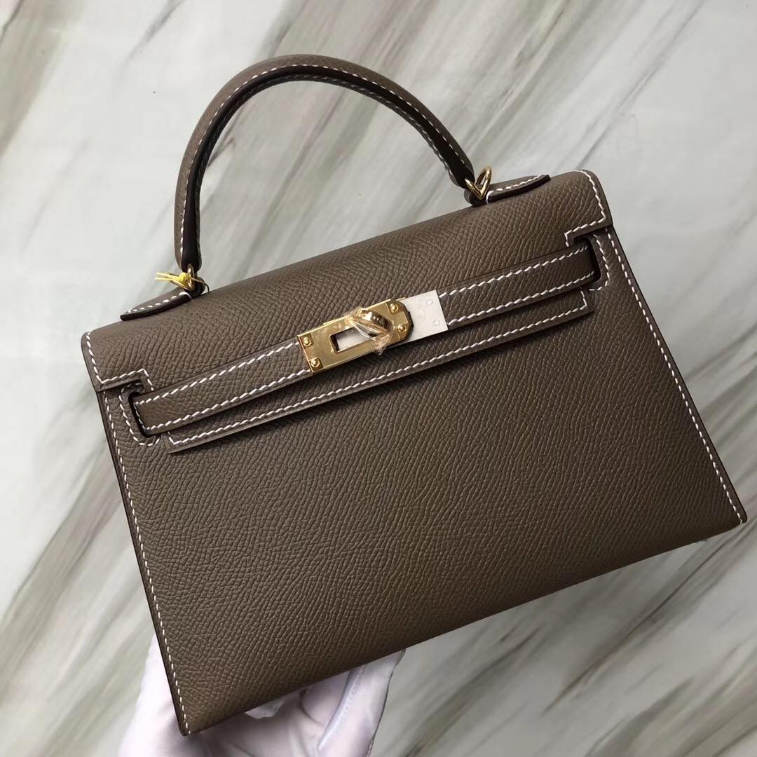愛馬仕凱莉迷妳2代尺寸 Hermès CK18 Etoupe 大象灰 MiniKelly二代