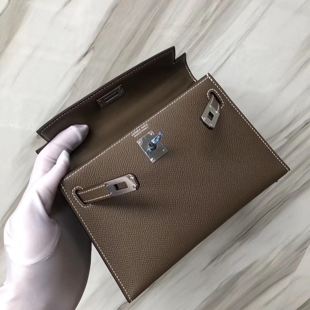 愛馬仕凱莉迷妳二代尺寸 Hermès CK18 大象灰 Etoupe MiniKelly 二代