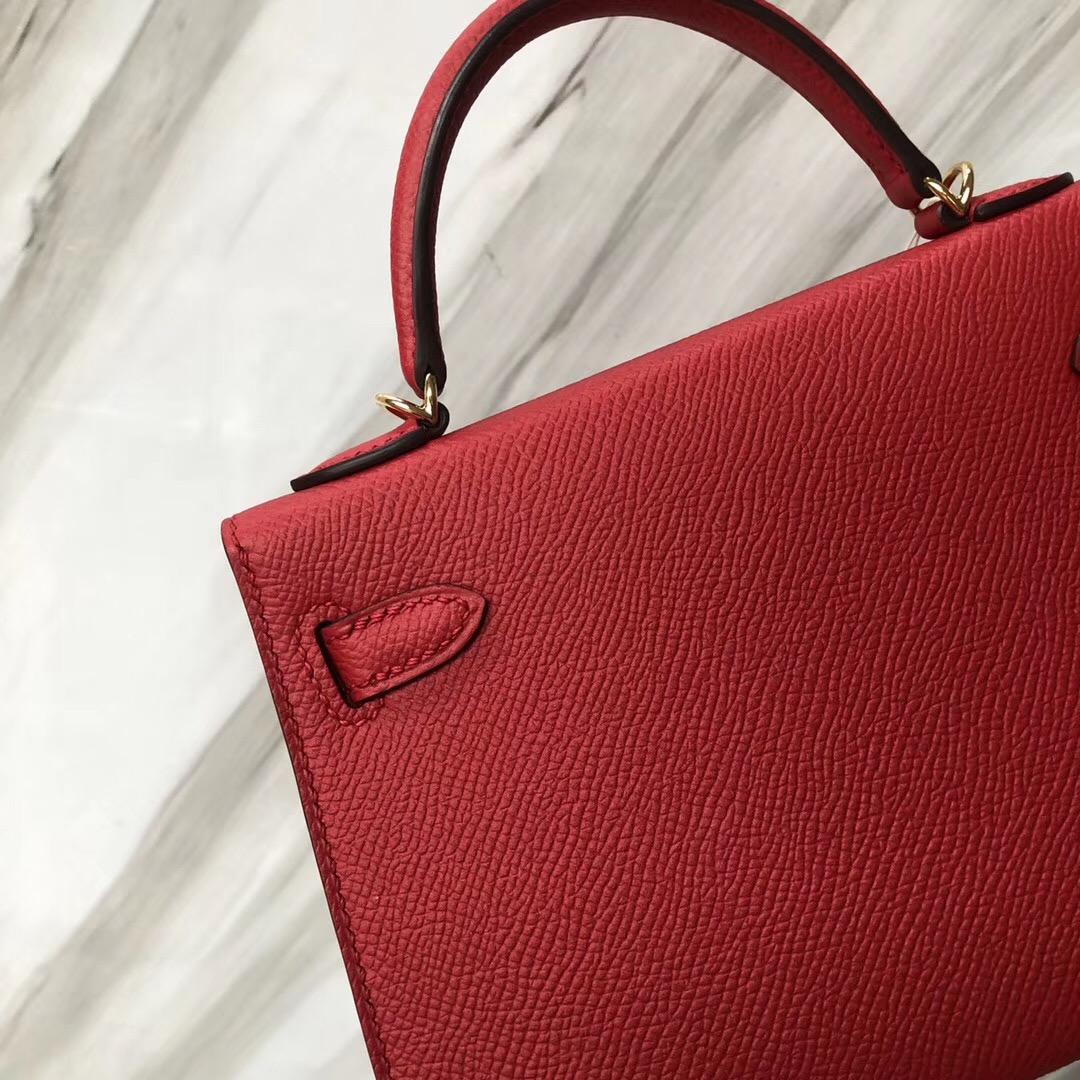 愛馬仕香港凱莉包 Hermès MiniKelly2代 Epsom Q5國旗紅 Rouge casaque