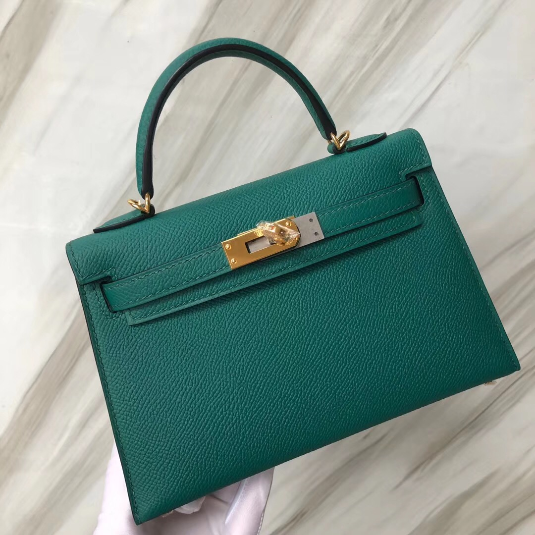 香港愛馬仕凱莉包二代迷妳價格 Hermès MiniKelly2代 Z6 Malachite 孔雀綠