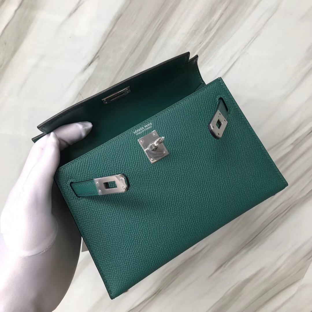 愛馬仕凱莉包二代迷妳 Hermès MiniKelly2代 Z6 孔雀綠 Malachite Epsom