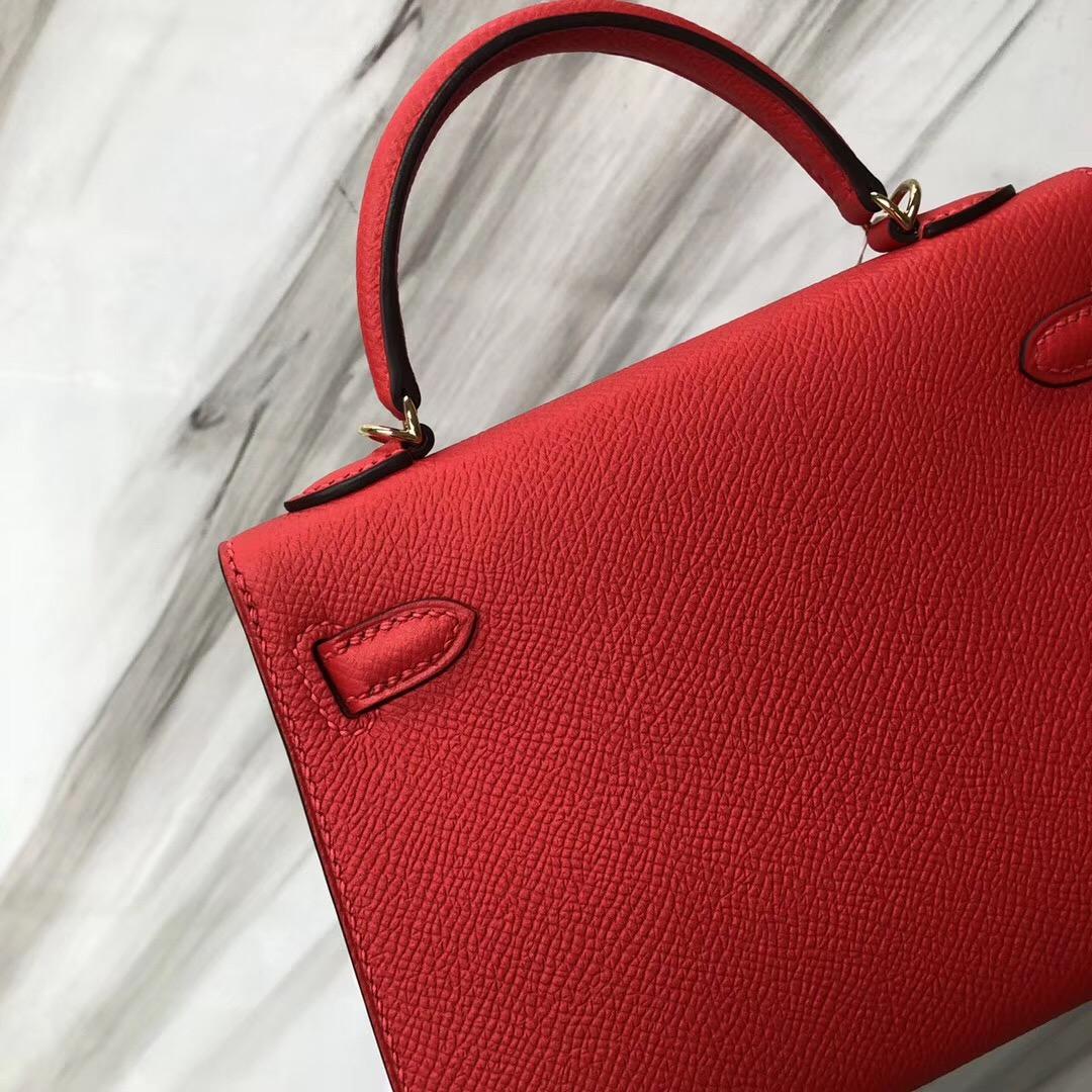 愛馬仕凱莉mini二代價格 Hermès MiniKelly 二代 S3心紅色 Rose de coeur Epsom