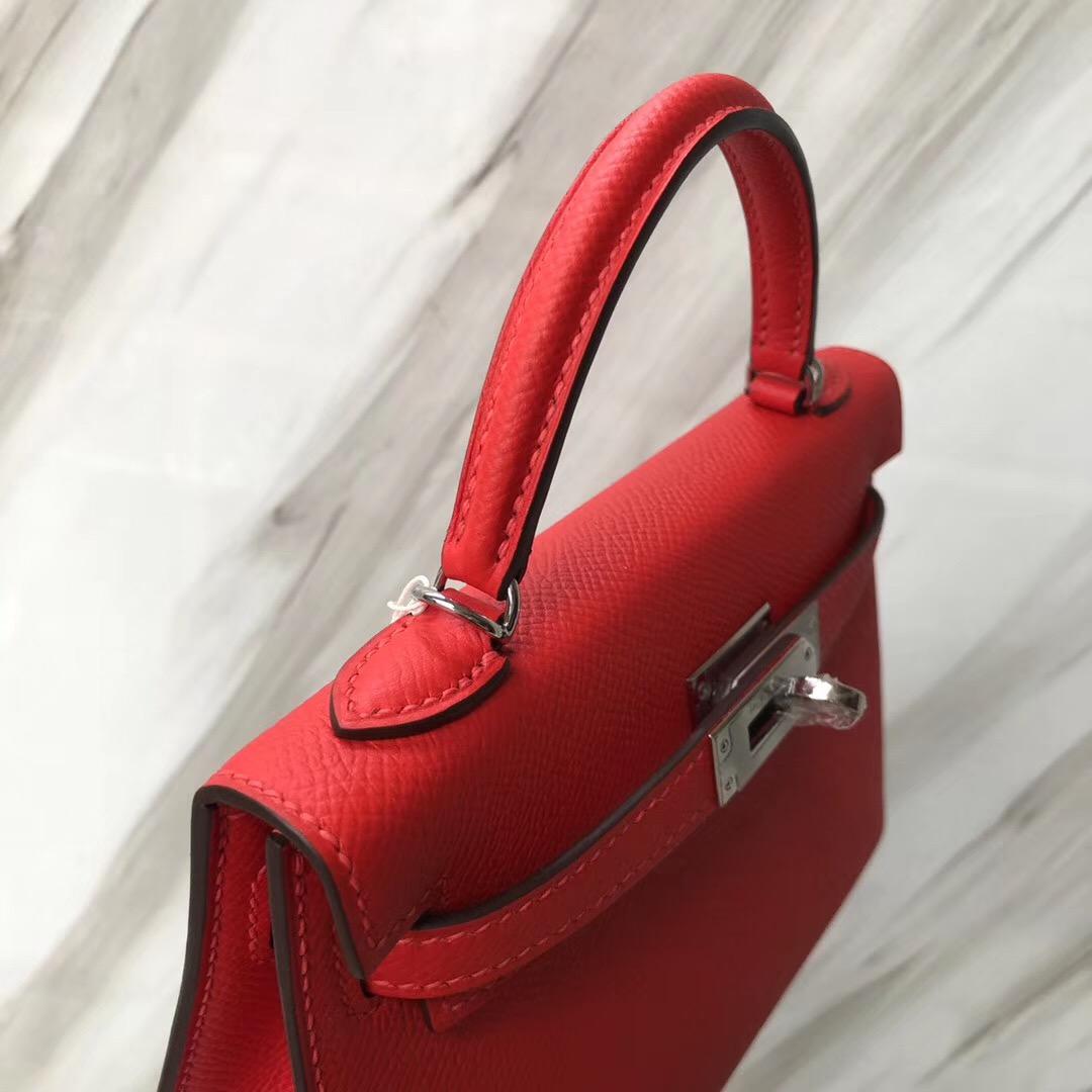 愛馬仕凱莉mini二代尺寸 Hermès MiniKelly2代 S3 Rose de coeur 心紅色