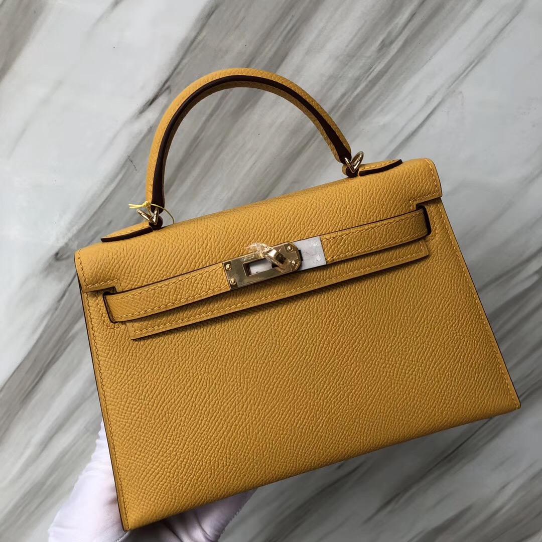 香港愛馬仕凱莉包二代迷妳 Hermès MiniKelly2代 9D琥珀黃Amber Epsom