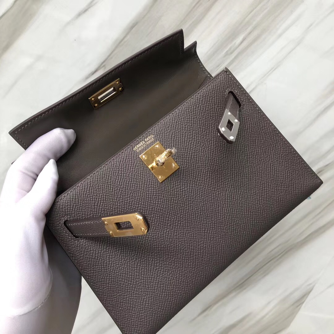 美國官網愛馬仕凱莉迷妳二代尺寸 Hermès MiniKelly2代 8F錫器灰 Etain Epsom皮