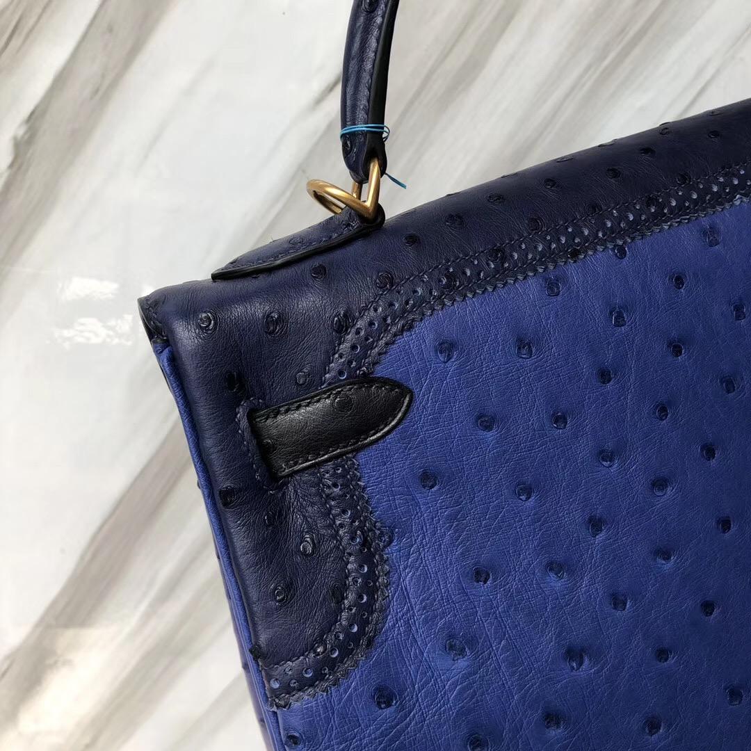 Hermès HSS Kelly 32cm 鴕鳥皮 7T電光藍/CK73寶石藍/CK2Z午夜藍