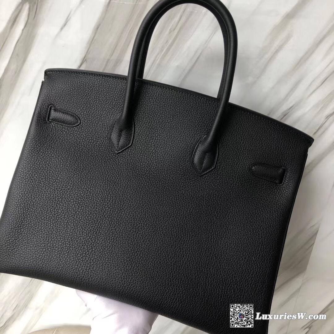 Hermès Birkin 35cm togo Ebene GHW CK89 Black 黑色 Noir 金扣