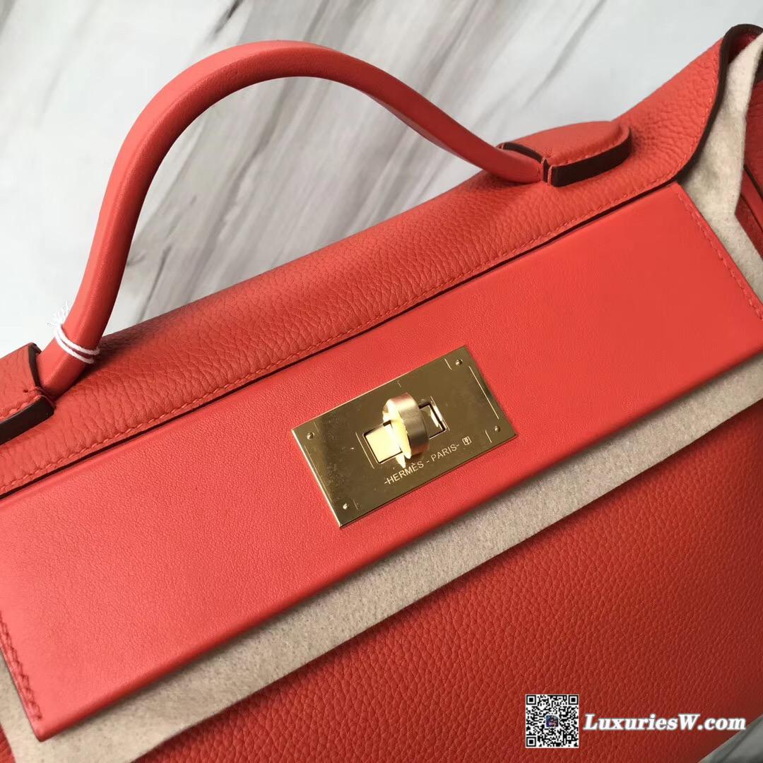 香港愛馬仕專賣店 Hermès Kelly 24 24 Maurice拼Swift 8v罌粟橘 銀扣