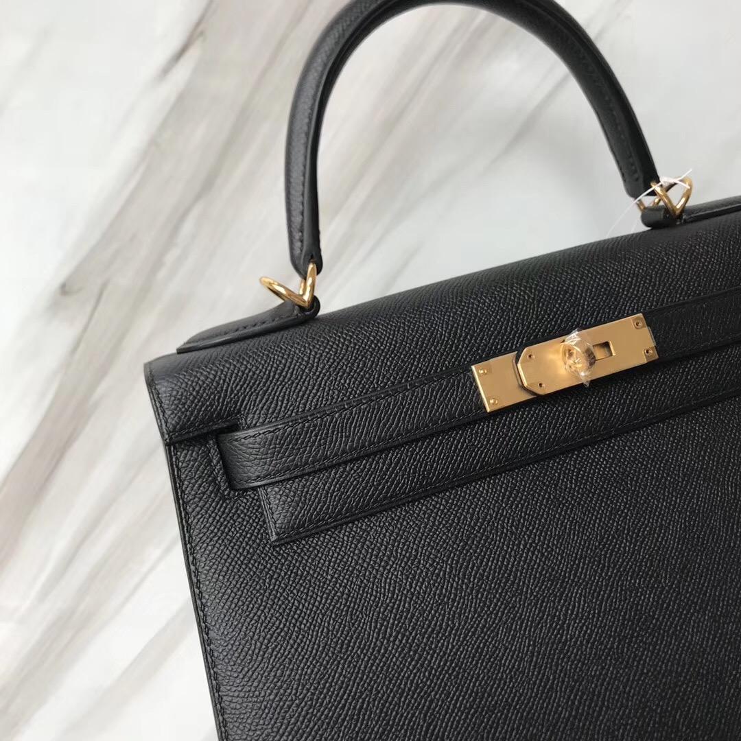 愛馬仕凱莉包臺北價格 Hermes Kelly Bags 28cm black CK89 Noir Epsom