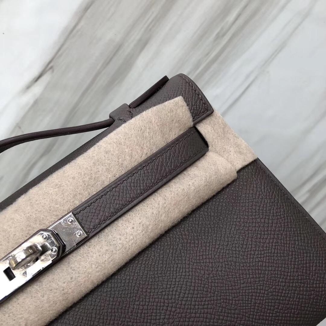 愛馬仕迷妳凱莉包官網 Hermès MiniKelly pochette Epsom 8F錫器灰 Etain
